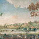 Усадьба Царицыно. Вид села с западной стороны. О.И. Бове, акварель