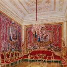 Большой Гатчинский дворец, Малиновая гостиная. Акварель Л.О. Премацци, 1872