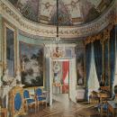 Большой Гатчинский дворец, Овальная комната. Акварель Э. Гау