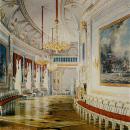 Большой Гатчинский дворец, Чесменская галерея. Акварель Э. Гау, 1872