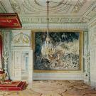 Большой Гатчинский дворец, Тронный зал Павла I. Акварель Э. Гау, 1876 г.