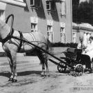 Ольга Ивановна Морозова в пролетке перед главным домом