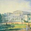 Усадьба Мещерское. Вид главного дома со стороны парка. Конец 1820-х гг. П.А. Герасимов, акварель