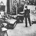 Федор Шаляпин позирует Репину в зимней мастерской, 1914