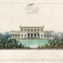 А.И. Штакеншнейдер. Дворец в Сергиевке. Фасад со стороны Финского залива. Чертеж с отмывкой, 1839