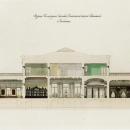 А.И. Штакеншнейдер. Дворец в Сергиевке. Разрез бильярдной, гостиной, кабинета. Чертеж с отмывкой, 1839