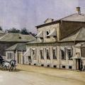 Колпинская улица в Царском Селе. Акварель неизвестного художника. 1865