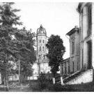 Усадьба Дубровицы, вид на дом со стороны парка и Знаменскую церковь