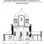 Церковь Святой Троицы в Старой Руссе, продольный разрез