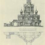 Церковь Покрова в Филях фасад и разрез