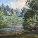 Гостилицы. Вид на парк и Чайный павильон. В. Садовников, акварель, 1857 г.
