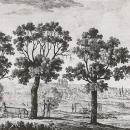 Вид на Москву-реку от главного дома в усадьбе Ильинское. Литография К.П. Беггрова, 1820-е гг. ГИМ