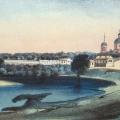 Вид села Ильинского от Москвы-реки. По литографии 1867 г., ГИМ