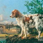 Усадьба Кузьминки. Конный двор. Собака на фоне пейзажа. 1838г.