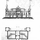 Главный дом в селе Мещеринове: фасад, план на уровне мезонина. 1815
