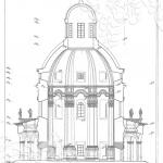 Усадьба Подмоклово, церковь Рождества Богородицы (разрез)