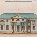 Покровское-Стрешнево. Фасад дома со стороны парадного двора в усадьбе Елизаветино Е.П. Глебовой-Стрешневой, 1780-е гг. Неизвестный художник