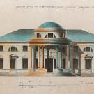 Покровское-Стрешнево. Фасад дома со стороны внутреннего двора в усадьбе Елизаветино Е.П. Глебовой-Стрешневой, 1780-е гг. Неизвестный художник