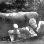 Усадьба Покровское-Стрешнево. Мраморные бюсты в парке, в период разрушения имения. Фото 1926 г.