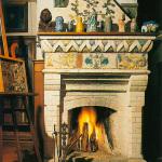 Усадьба Поленово, библиотека, камин