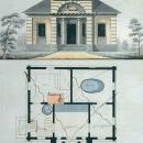 Усадьба Тарычёво, фасад и план бани. Конец XVIII - начало XIX вв., чертеж неизвестного архитектора. ГИМ