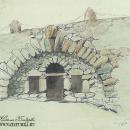 Чертов мост в усадьбе Василево. Рисунок А.М. Харламовой, 1955 г.