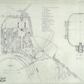 Усадьба Знаменское-Раек, план усадьбы. Обмеры А.М. Харламовой, 1957 г.