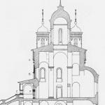 Усадьба Вяземы. Разрез Преображенской церкви