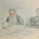 И.Е. Репин, Л.Н. Толстой и С.А. Толстая за столом, 1907
