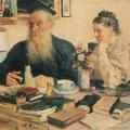 И.Е. Репин, Л.Н. Толстой и С.А. Толстая за столом, 1907-1911