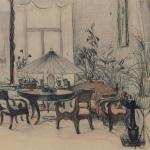 В.Н. Мешков, Уголок в зале яснополянского дома Толстого, 1910