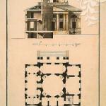 Н.А. Львов. Проект загородного дома П.А. Соймонова. Фасад, совмещенный с разрезом и план. 1780-е гг.
