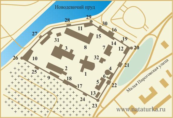План Новодевичьего монастыря