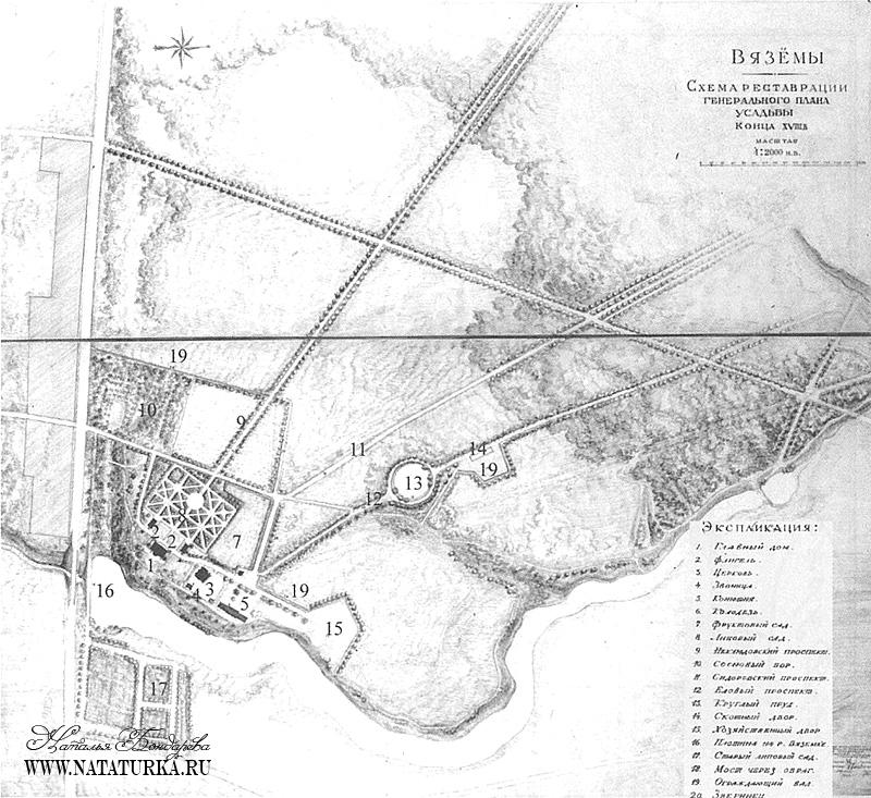 План усадьбы Вяземы 1949 г