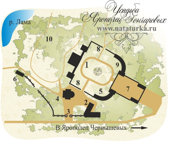 План усадьбы Ярополец Гончаровых