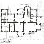 Усадьба Успенское. Архитектор П.С. Бойцов. План 1-го этажа главного дома. Чертеж 1930-х гг.