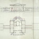 Усадьба Введенское. План, фасад. Обмеры А.М. Харламовой, 1957.