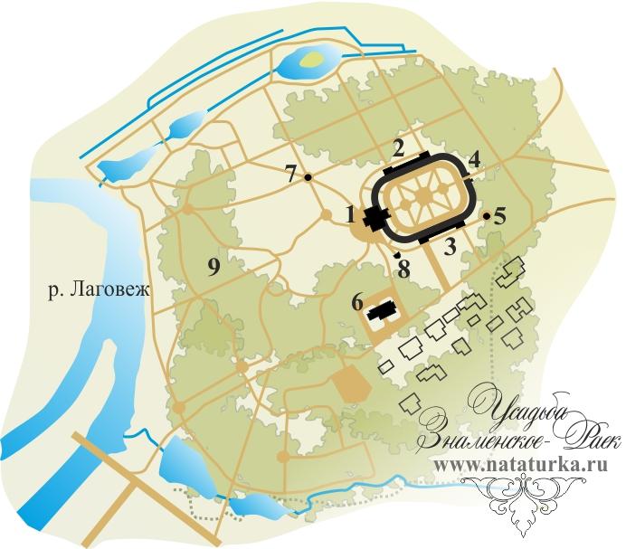 План усадьбы Знаменское-Раек