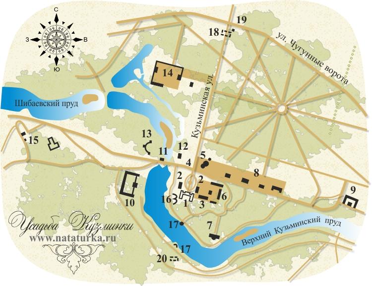 План усадьбы Кузьминки