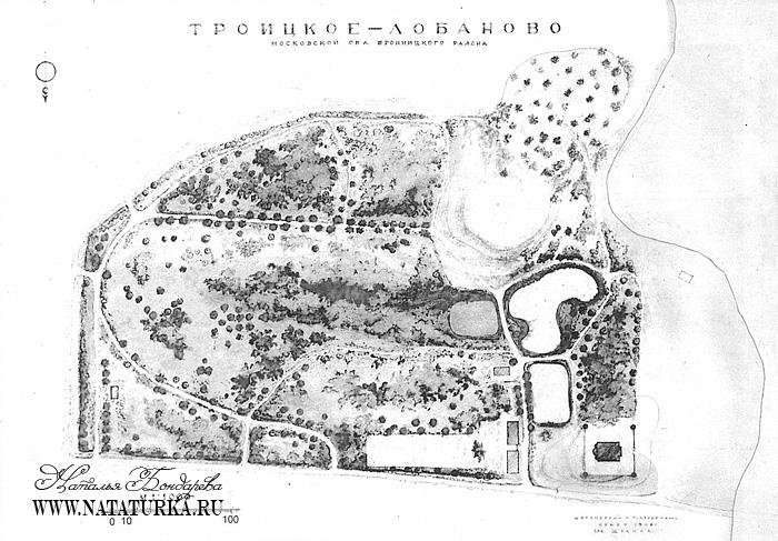 План усадьбы Троицкое-Лобаново. Обмер Е.П. Щукиной