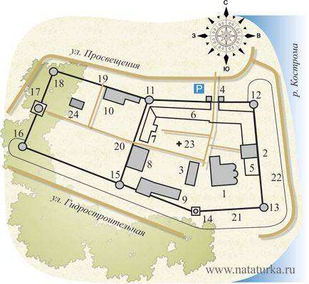 План Ипатьевского монастыря в Костроме