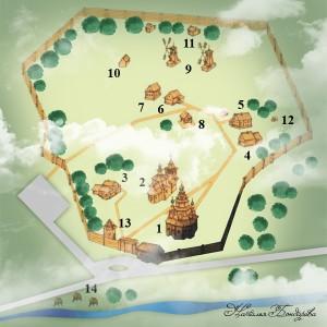 Суздаль. Схема музея деревянного зодчества