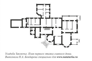 Заключье. План 1-го этажа главного дома усадьбы