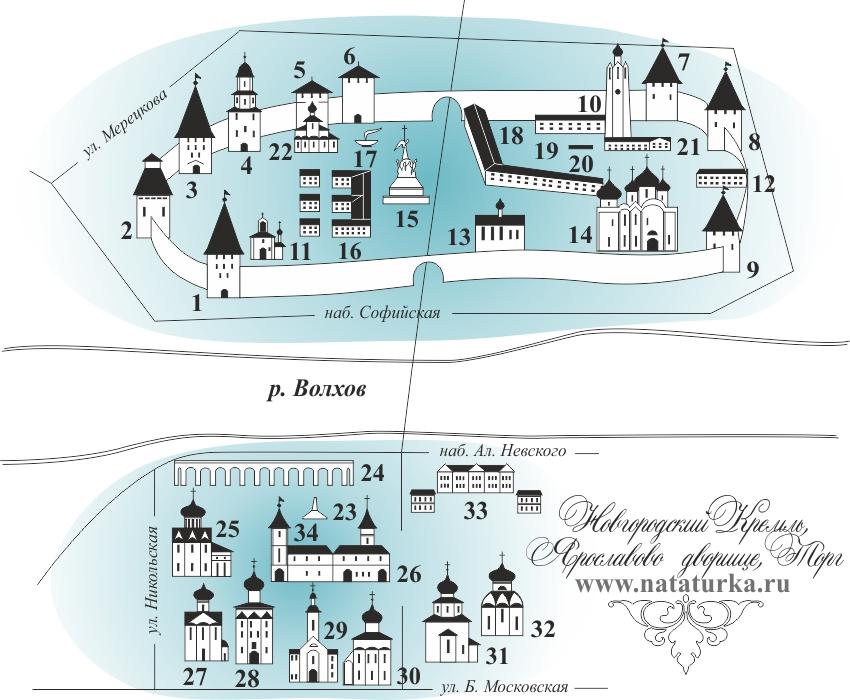 Схема Кремля Великого Новгорода  и  Ярославова Дворища