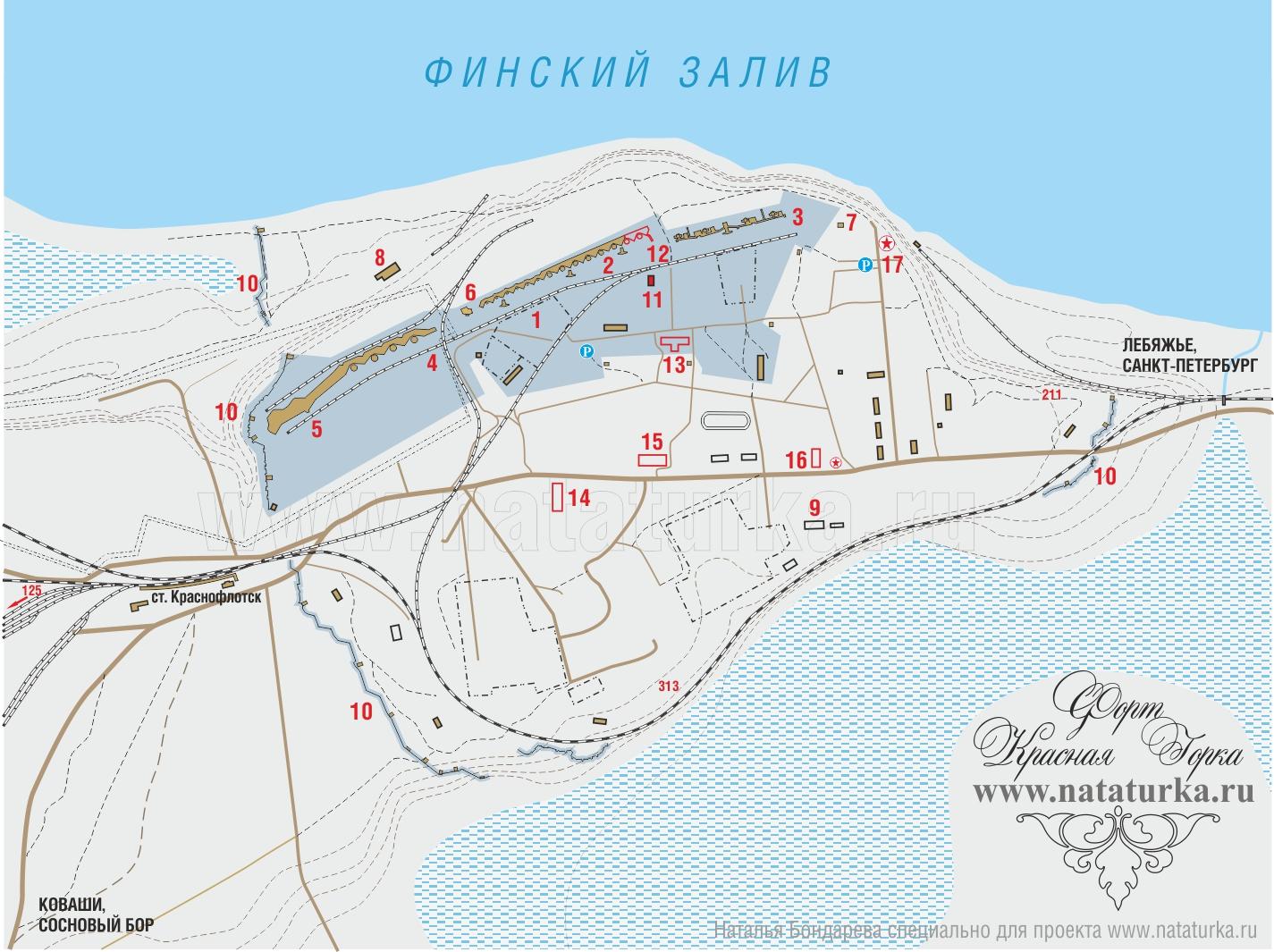 Схема форта Красная Горка