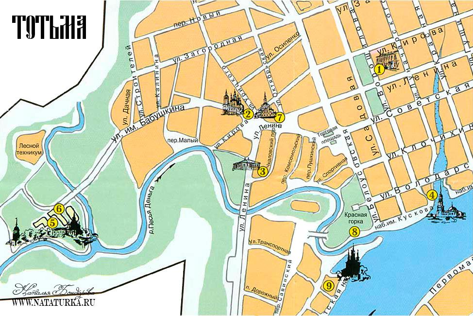 Тотьма. План города с достопримечательностями