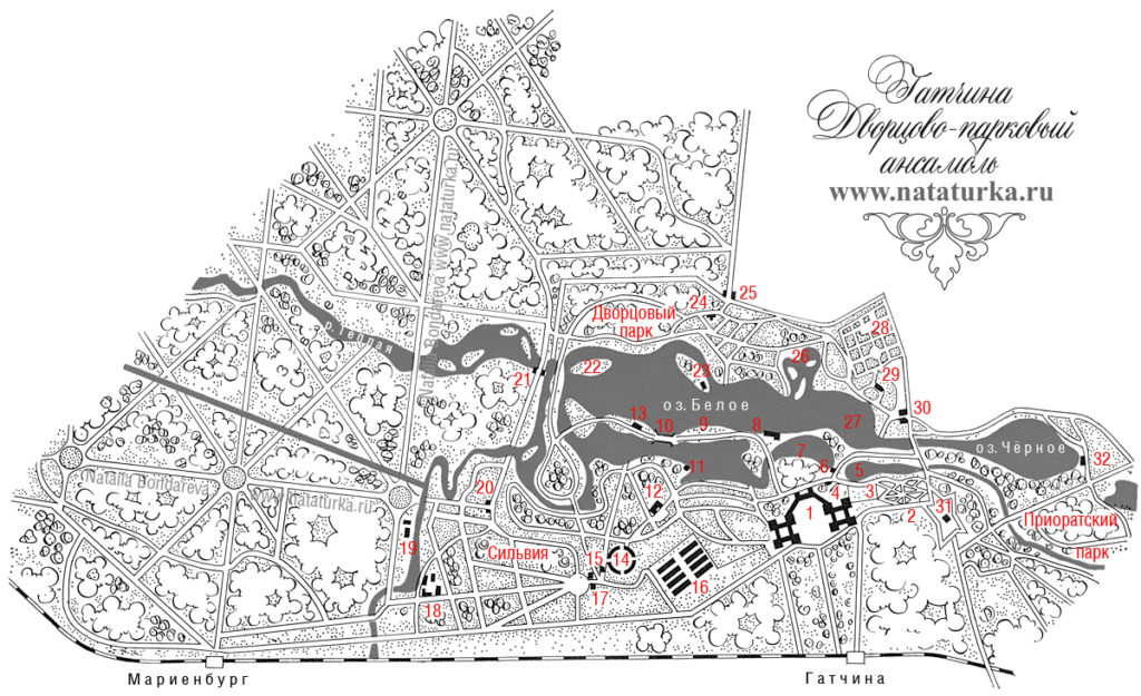 План дворцово-паркового ансамбля в Гатчине