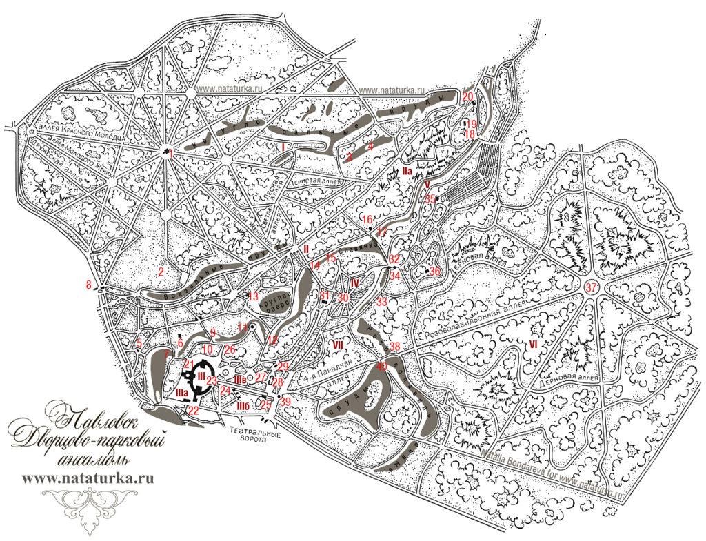 Схема парка в Павловске
