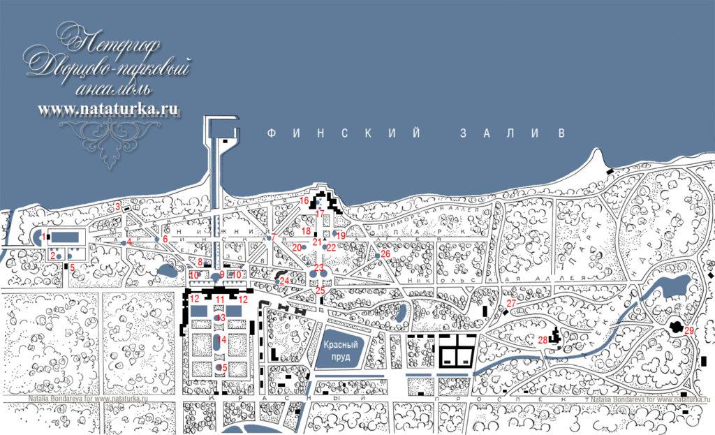 План дворцово-паркового ансамбля Петергоф
