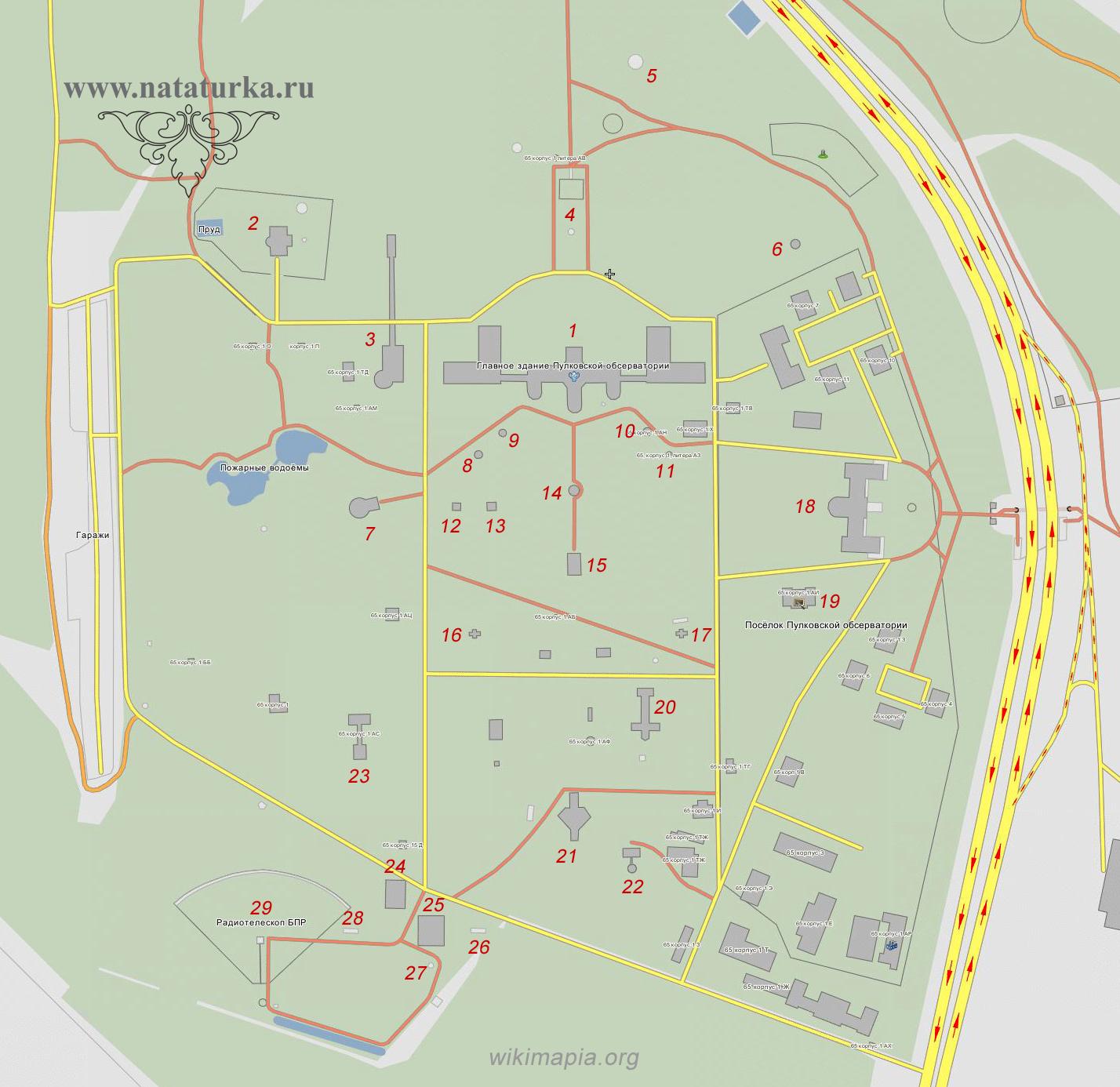 Карта-схема Пулковской обсерватории